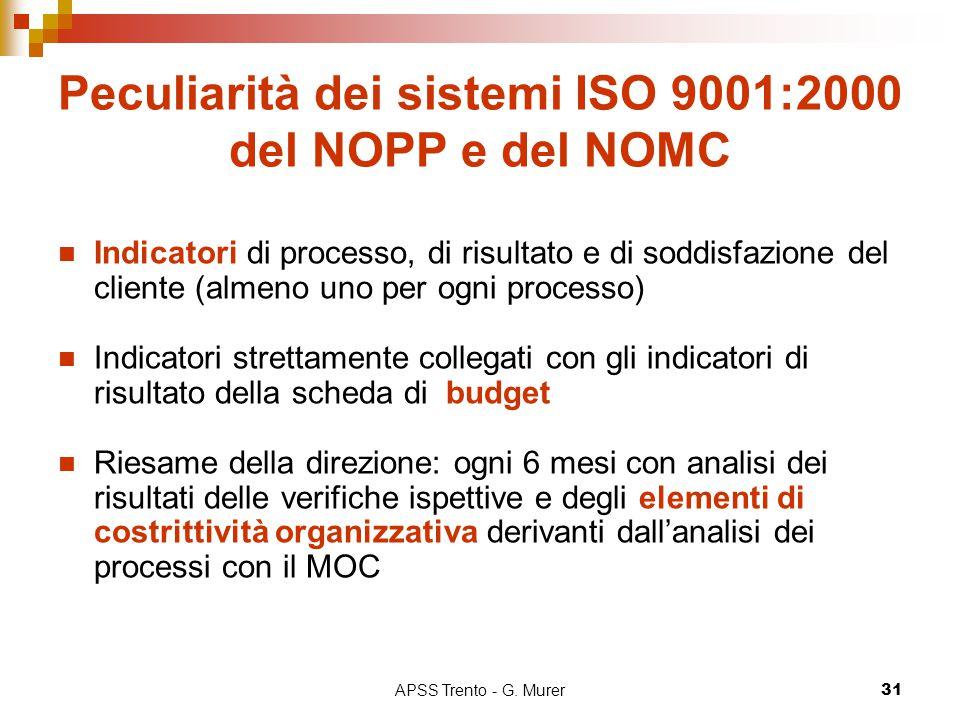 APSS Trento - G. Murer31 Peculiarità dei sistemi ISO 9001:2000 del NOPP e del NOMC Indicatori di processo, di risultato e di soddisfazione del cliente