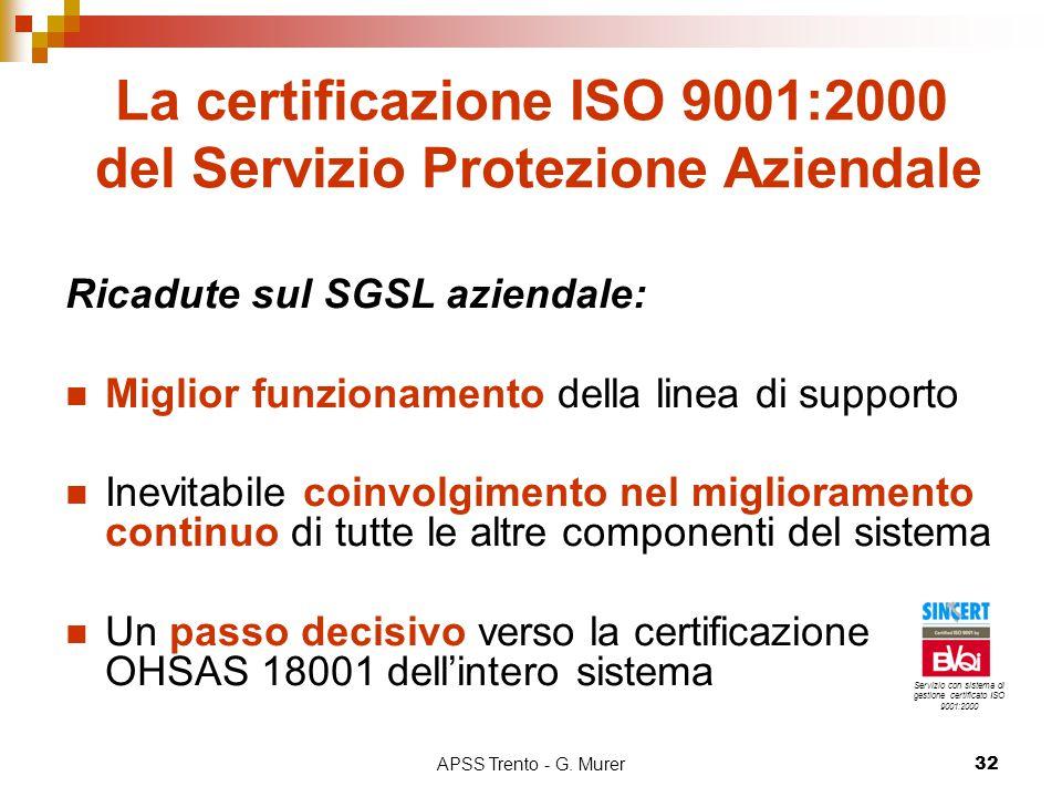 APSS Trento - G. Murer32 La certificazione ISO 9001:2000 del Servizio Protezione Aziendale Ricadute sul SGSL aziendale: Miglior funzionamento della li