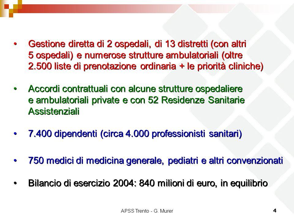 APSS Trento - G. Murer4 Gestione diretta di 2 ospedali, di 13 distretti (con altri 5 ospedali) e numerose strutture ambulatoriali (oltre 2.500 liste d