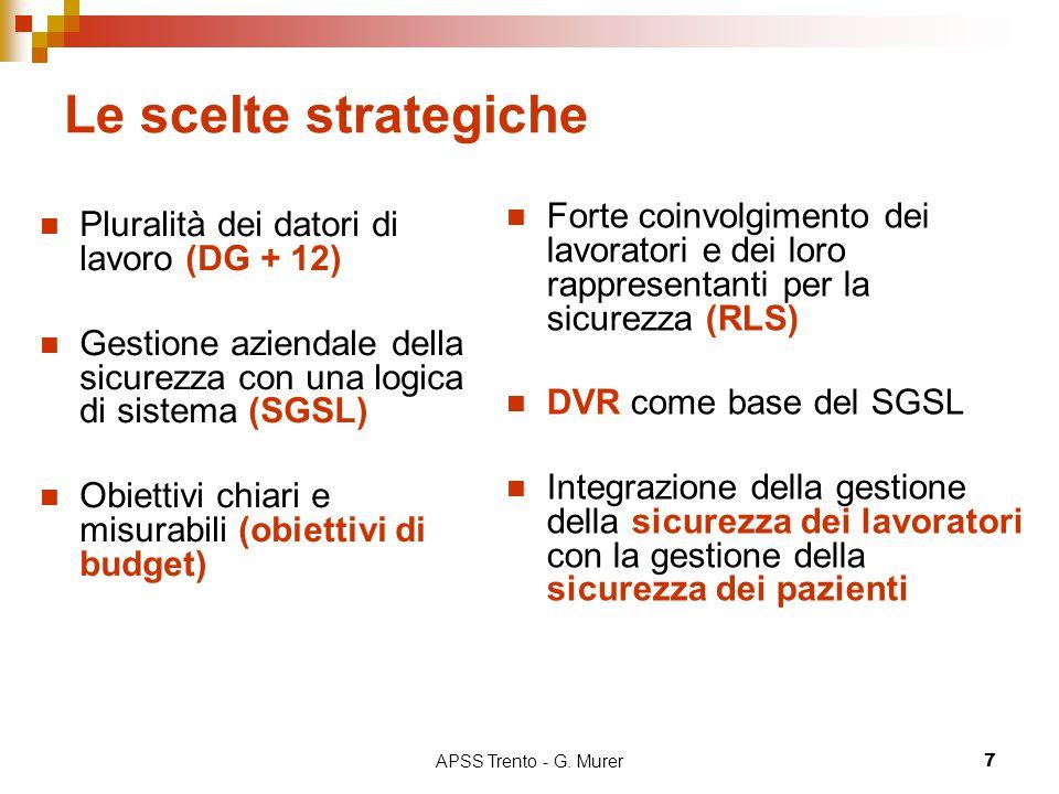 APSS Trento - G. Murer7 Le scelte strategiche Pluralità dei datori di lavoro (DG + 12) Gestione aziendale della sicurezza con una logica di sistema (S
