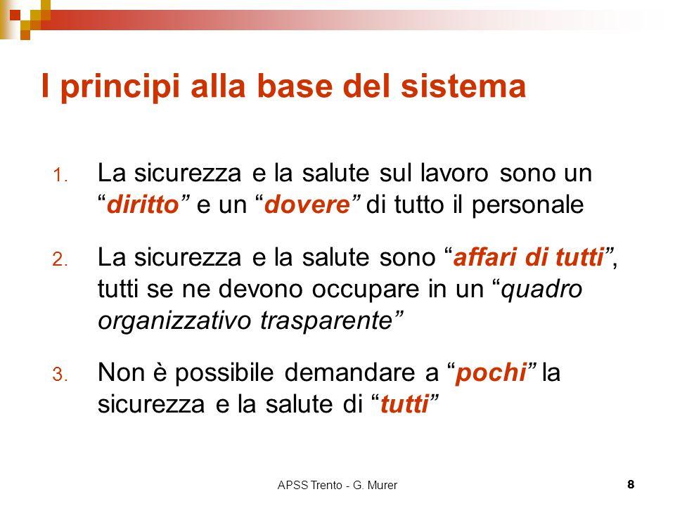"""APSS Trento - G. Murer8 I principi alla base del sistema 1. La sicurezza e la salute sul lavoro sono un """"diritto"""" e un """"dovere"""" di tutto il personale"""