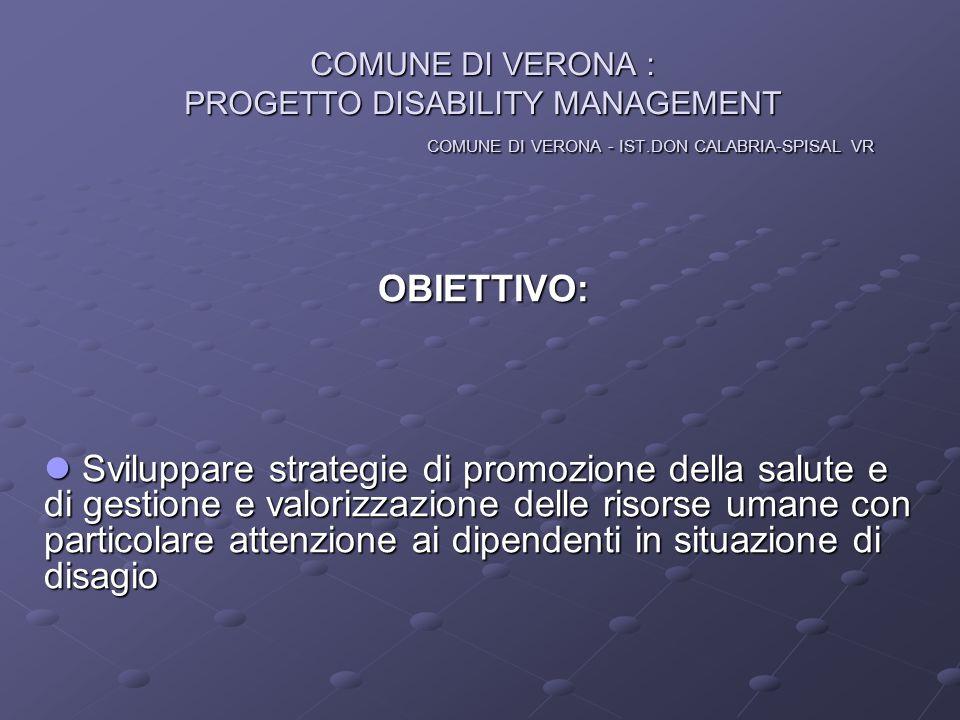 COMUNE DI VERONA : PROGETTO DISABILITY MANAGEMENT COMUNE DI VERONA - IST.DON CALABRIA-SPISAL VR OBIETTIVO: Sviluppare strategie di promozione della sa