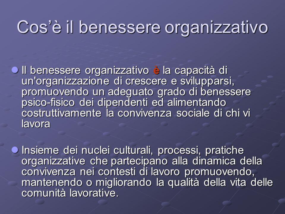 Cos'è il benessere organizzativo Il benessere organizzativo è la capacità di un'organizzazione di crescere e svilupparsi, promuovendo un adeguato grad
