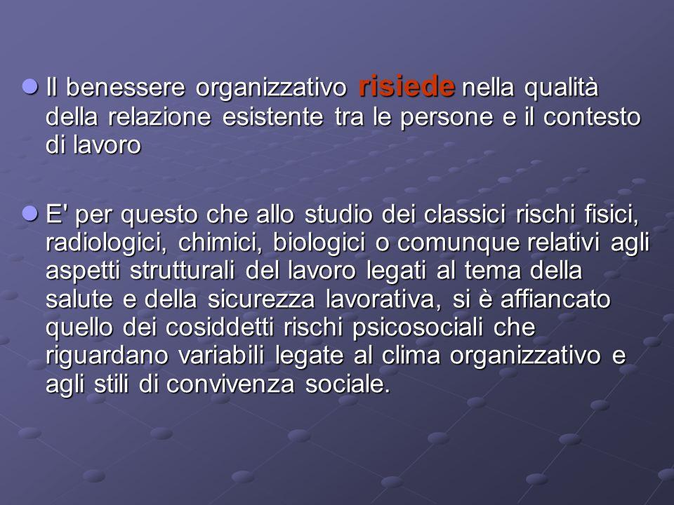 Il benessere organizzativo risiede nella qualità della relazione esistente tra le persone e il contesto di lavoro Il benessere organizzativo risiede n