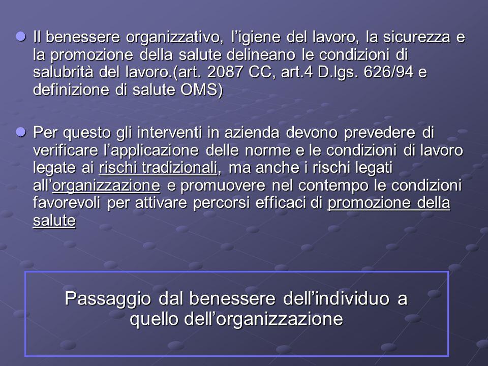 Il benessere organizzativo, l'igiene del lavoro, la sicurezza e la promozione della salute delineano le condizioni di salubrità del lavoro.(art. 2087
