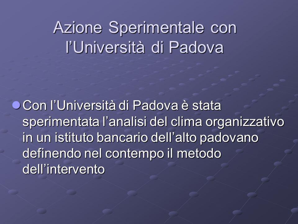Azione Sperimentale con l'Università di Padova Con l'Università di Padova è stata sperimentata l'analisi del clima organizzativo in un istituto bancar