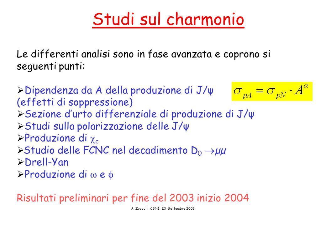 A. Zoccoli - CSN1, 23 Settembre 2003 Studi sul charmonio Le differenti analisi sono in fase avanzata e coprono si seguenti punti:  Dipendenza da A de