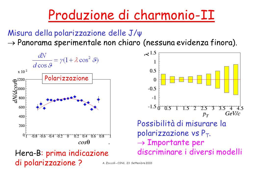A. Zoccoli - CSN1, 23 Settembre 2003 Produzione di charmonio-II Possibilità di misurare la polarizzazione vs P T.  Importante per discriminare i dive