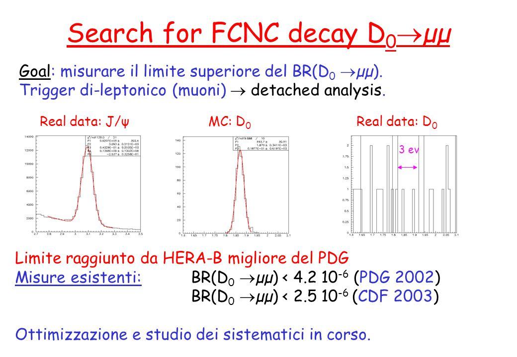 A. Zoccoli - CSN1, 23 Settembre 2003 Goal: misurare il limite superiore del BR(D 0  µµ). Trigger di-leptonico (muoni)  detached analysis. Search for