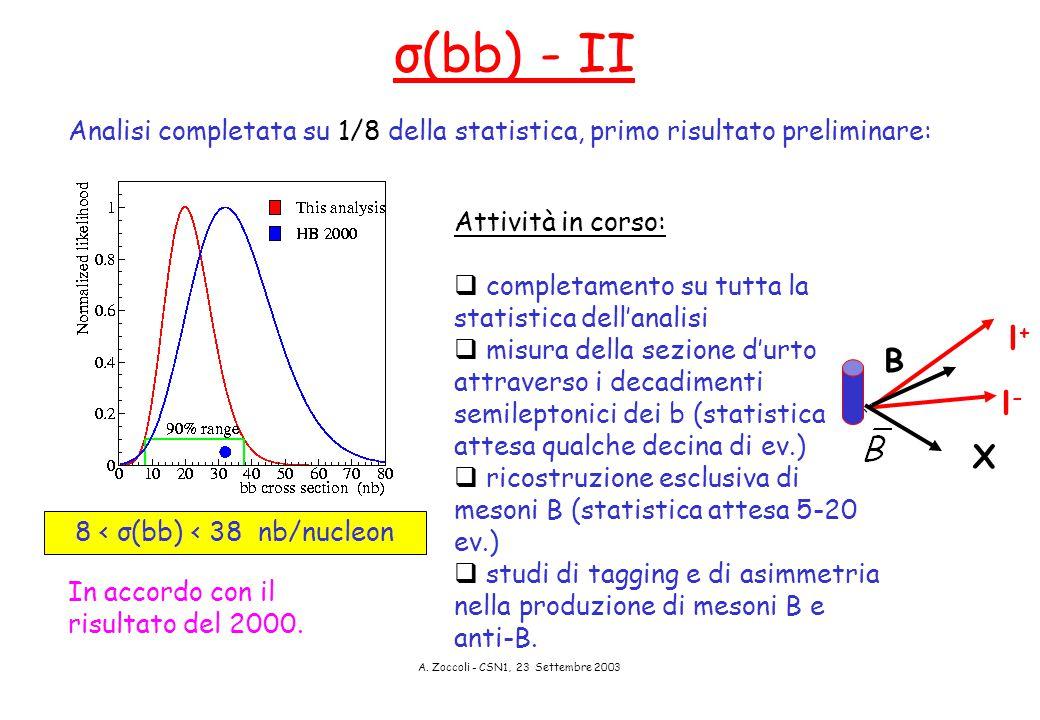 A. Zoccoli - CSN1, 23 Settembre 2003 8 < σ(bb) < 38 nb/nucleon Analisi completata su 1/8 della statistica, primo risultato preliminare: σ(bb) - II In