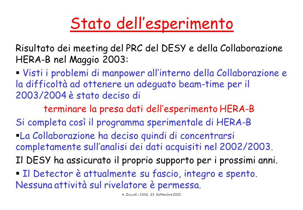 A. Zoccoli - CSN1, 23 Settembre 2003 Stato dell'esperimento Risultato dei meeting del PRC del DESY e della Collaborazione HERA-B nel Maggio 2003:  Vi