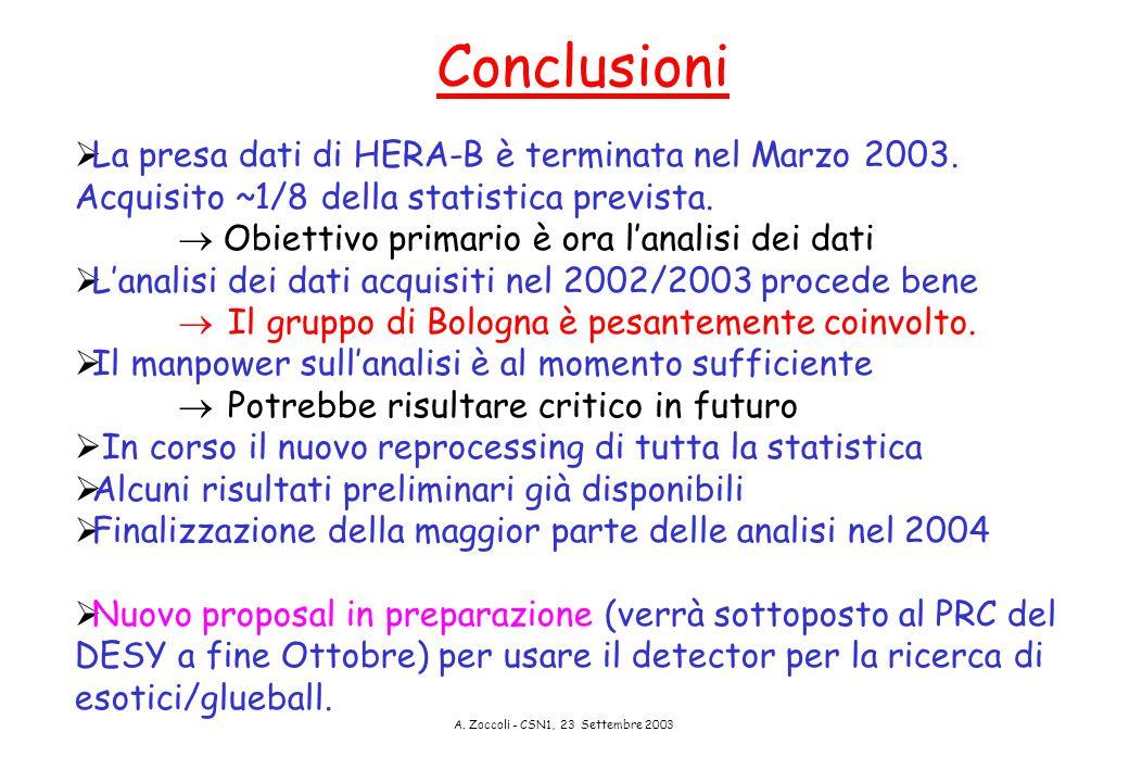 A. Zoccoli - CSN1, 23 Settembre 2003 Conclusioni  La presa dati di HERA-B è terminata nel Marzo 2003. Acquisito ~1/8 della statistica prevista.  Obi