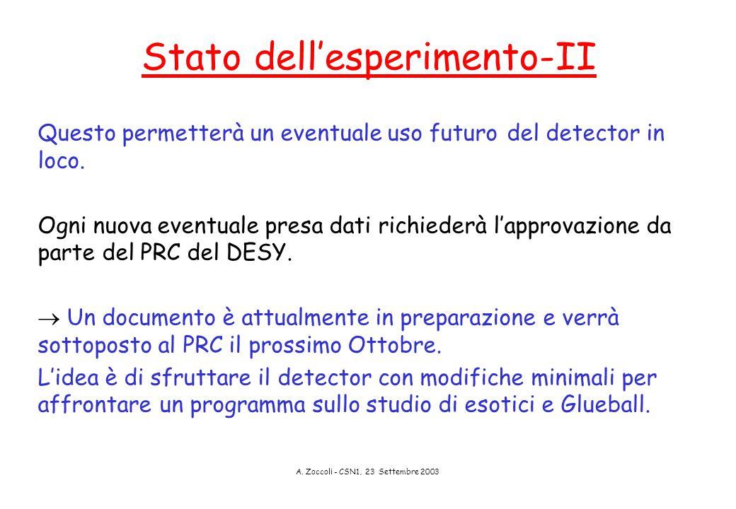 A. Zoccoli - CSN1, 23 Settembre 2003 Stato dell'esperimento-II Questo permetterà un eventuale uso futuro del detector in loco. Ogni nuova eventuale pr