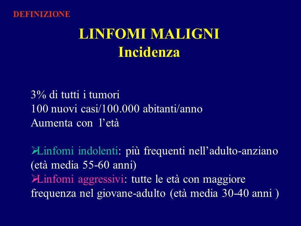 DIAGNOSI CLINICA: Esami di laboratorio Emocromo, VES, fibrinogenemia, elettroforesi, β 2 microglobulina, uricemia, LDH, cupremia, fosfatasi alcalina, sideremia, ferritina chimica clinica Sierologia per virus e parassiti Oncomarkers TNFα, Il1β, sIl2-r, Il2, Il6, Il10, sCD30 DIAGNOSI