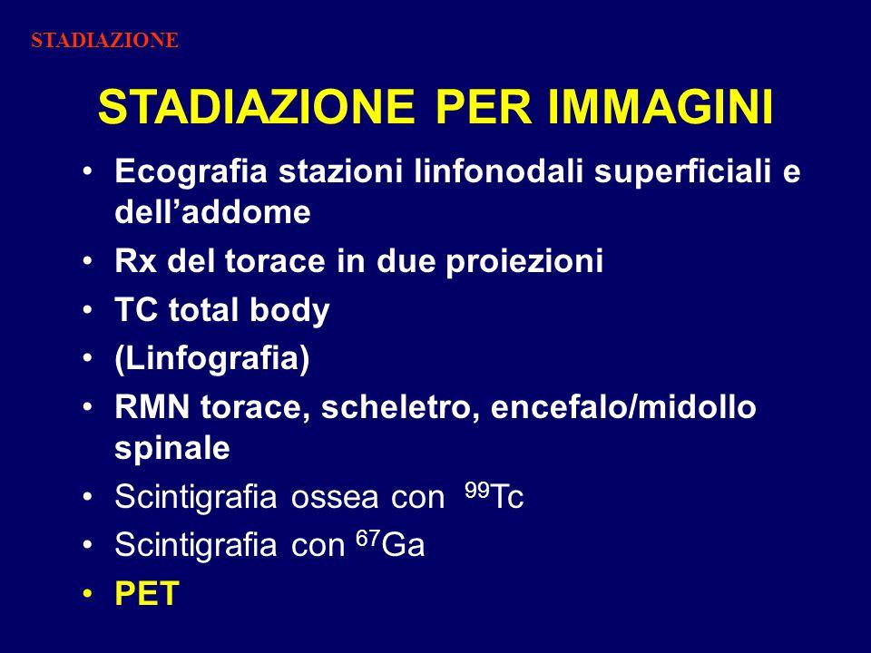 STADIAZIONE PER IMMAGINI Ecografia stazioni linfonodali superficiali e dell'addome Rx del torace in due proiezioni TC total body (Linfografia) RMN torace, scheletro, encefalo/midollo spinale Scintigrafia ossea con 99 Tc Scintigrafia con 67 Ga PET STADIAZIONE