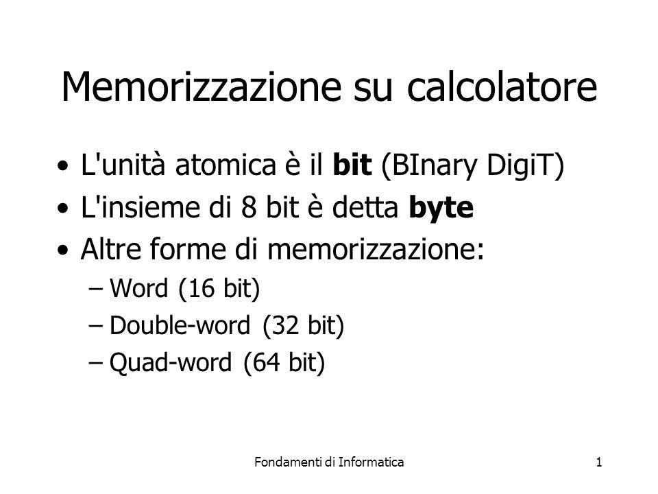 Fondamenti di Informatica1 Memorizzazione su calcolatore L unità atomica è il bit (BInary DigiT) L insieme di 8 bit è detta byte Altre forme di memorizzazione: –Word (16 bit) –Double-word (32 bit) –Quad-word (64 bit)