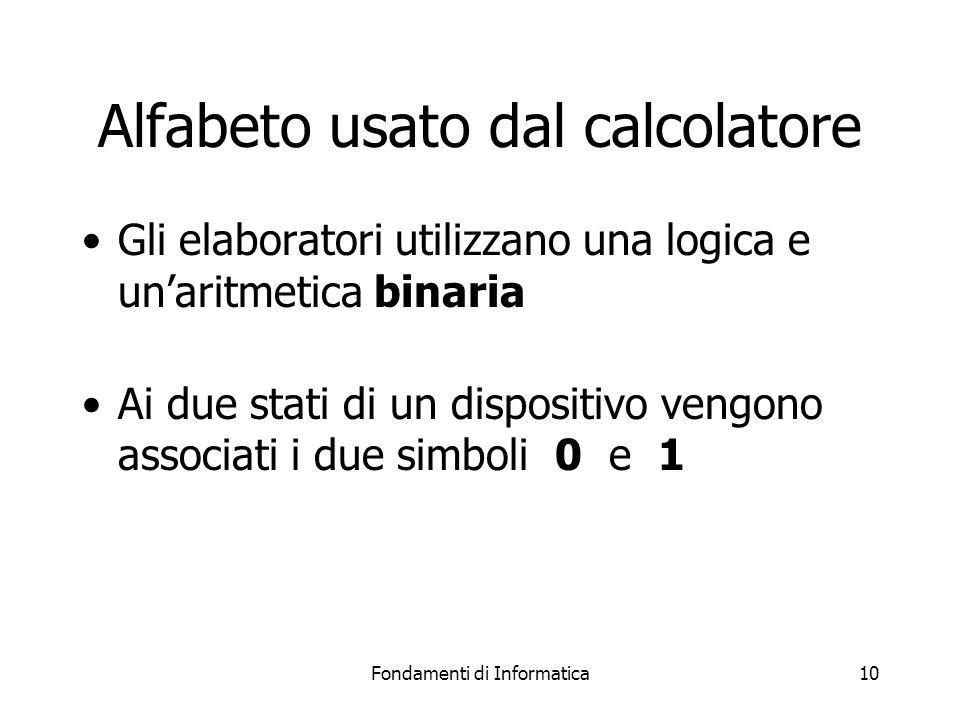 Fondamenti di Informatica10 Alfabeto usato dal calcolatore Gli elaboratori utilizzano una logica e un'aritmetica binaria Ai due stati di un dispositivo vengono associati i due simboli 0 e 1