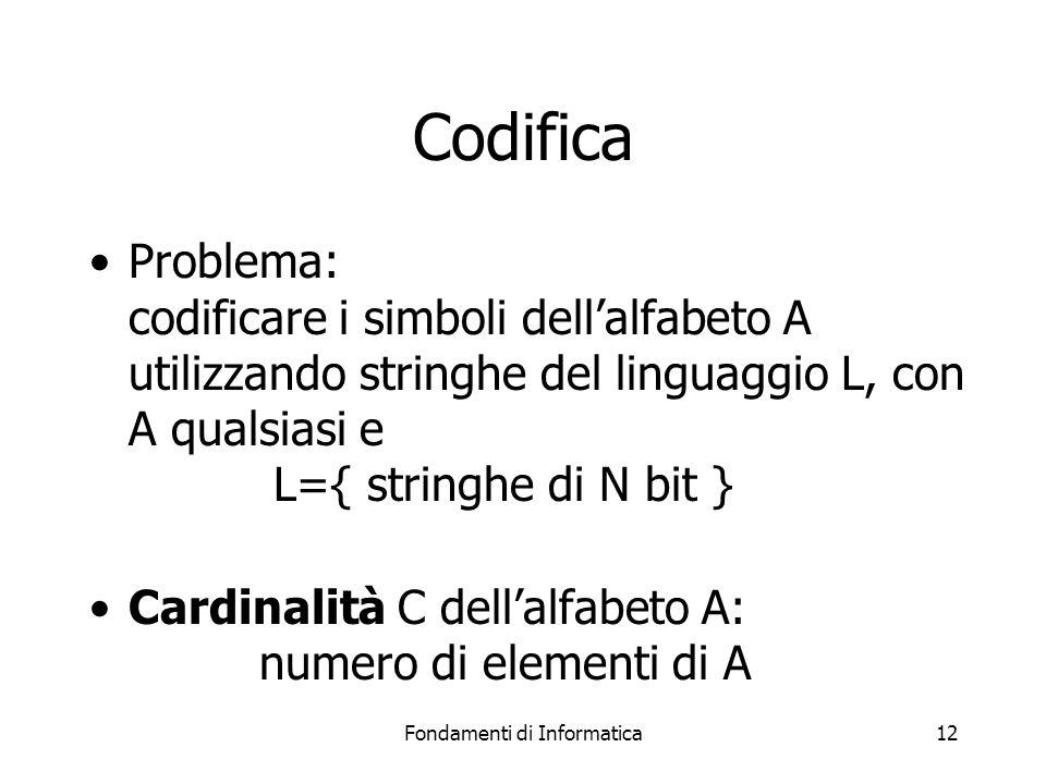 Fondamenti di Informatica12 Codifica Problema: codificare i simboli dell'alfabeto A utilizzando stringhe del linguaggio L, con A qualsiasi e L={ stringhe di N bit } Cardinalità C dell'alfabeto A: numero di elementi di A