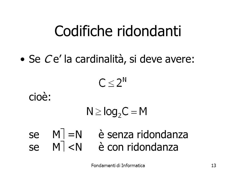 Fondamenti di Informatica13 Codifiche ridondanti Se C e' la cardinalità, si deve avere: cioè: se M  =N è senza ridondanza se M  <N è con ridondanza