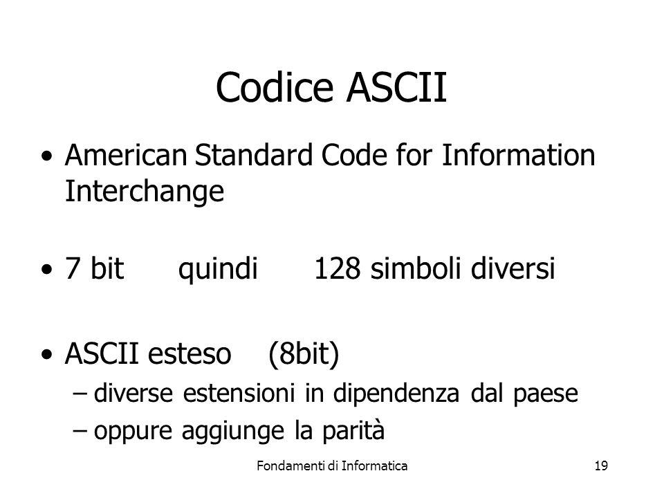 Fondamenti di Informatica19 Codice ASCII American Standard Code for Information Interchange 7 bit quindi 128 simboli diversi ASCII esteso (8bit) –diverse estensioni in dipendenza dal paese –oppure aggiunge la parità