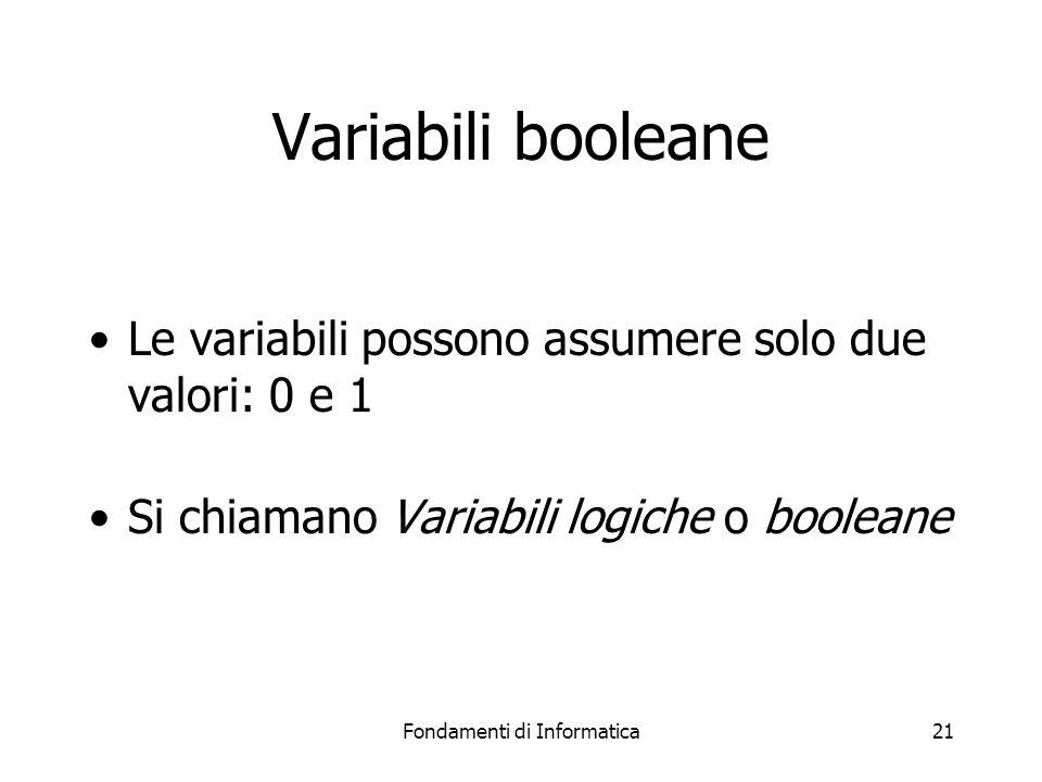 Fondamenti di Informatica21 Variabili booleane Le variabili possono assumere solo due valori: 0 e 1 Si chiamano Variabili logiche o booleane