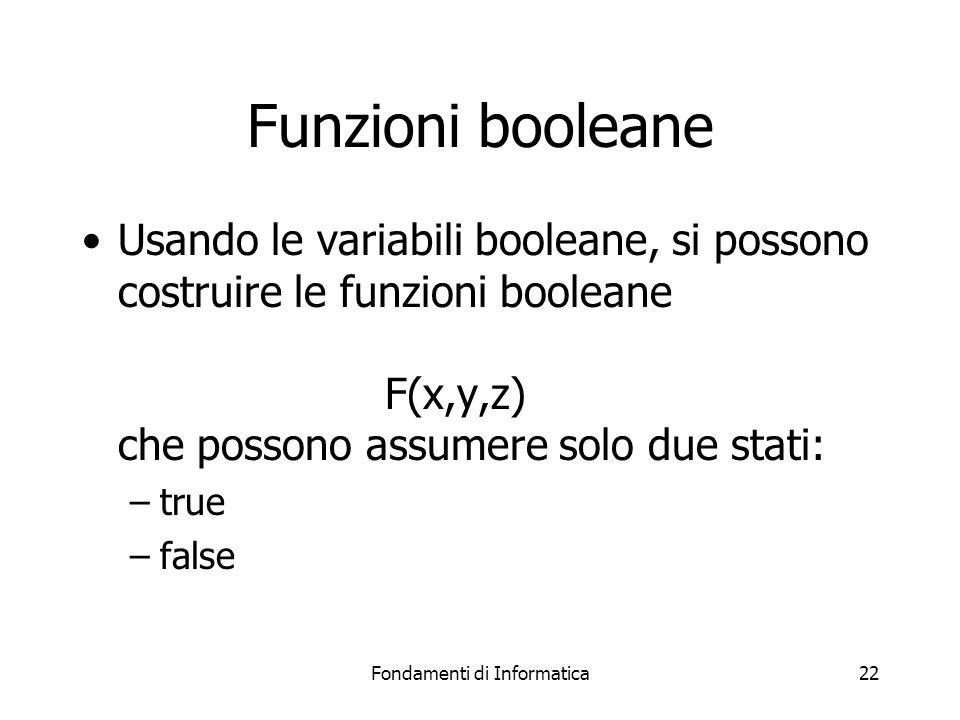 Fondamenti di Informatica22 Funzioni booleane Usando le variabili booleane, si possono costruire le funzioni booleane F(x,y,z) che possono assumere solo due stati: –true –false