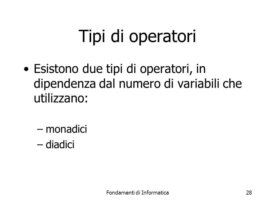 Fondamenti di Informatica28 Tipi di operatori Esistono due tipi di operatori, in dipendenza dal numero di variabili che utilizzano: –monadici –diadici