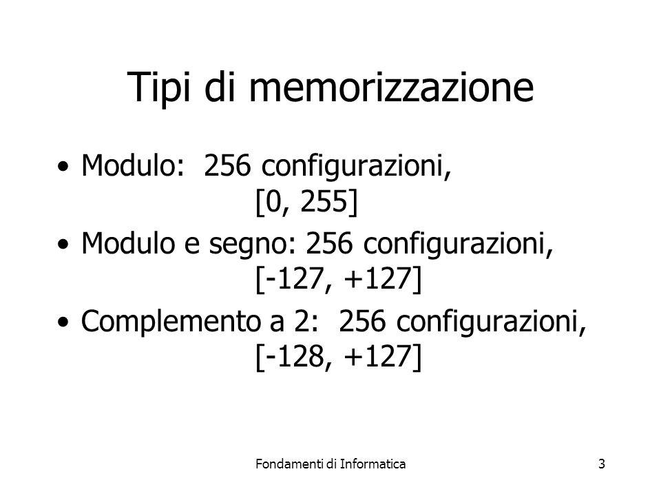 Fondamenti di Informatica3 Tipi di memorizzazione Modulo: 256 configurazioni, [0, 255] Modulo e segno: 256 configurazioni, [-127, +127] Complemento a 2: 256 configurazioni, [-128, +127]