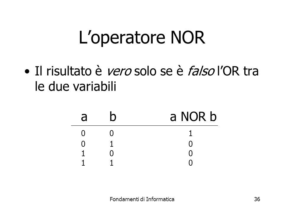 Fondamenti di Informatica36 L'operatore NOR Il risultato è vero solo se è falso l'OR tra le due variabili ab a NOR b 00 1 01 0 10 0 11 0