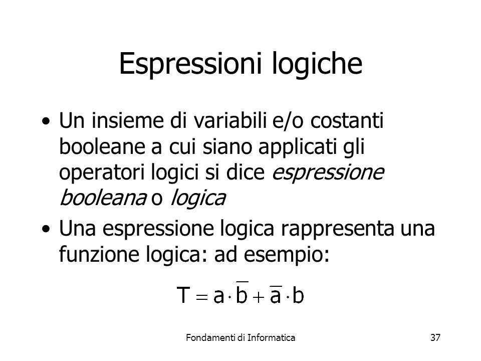 Fondamenti di Informatica37 Espressioni logiche Un insieme di variabili e/o costanti booleane a cui siano applicati gli operatori logici si dice espressione booleana o logica Una espressione logica rappresenta una funzione logica: ad esempio: