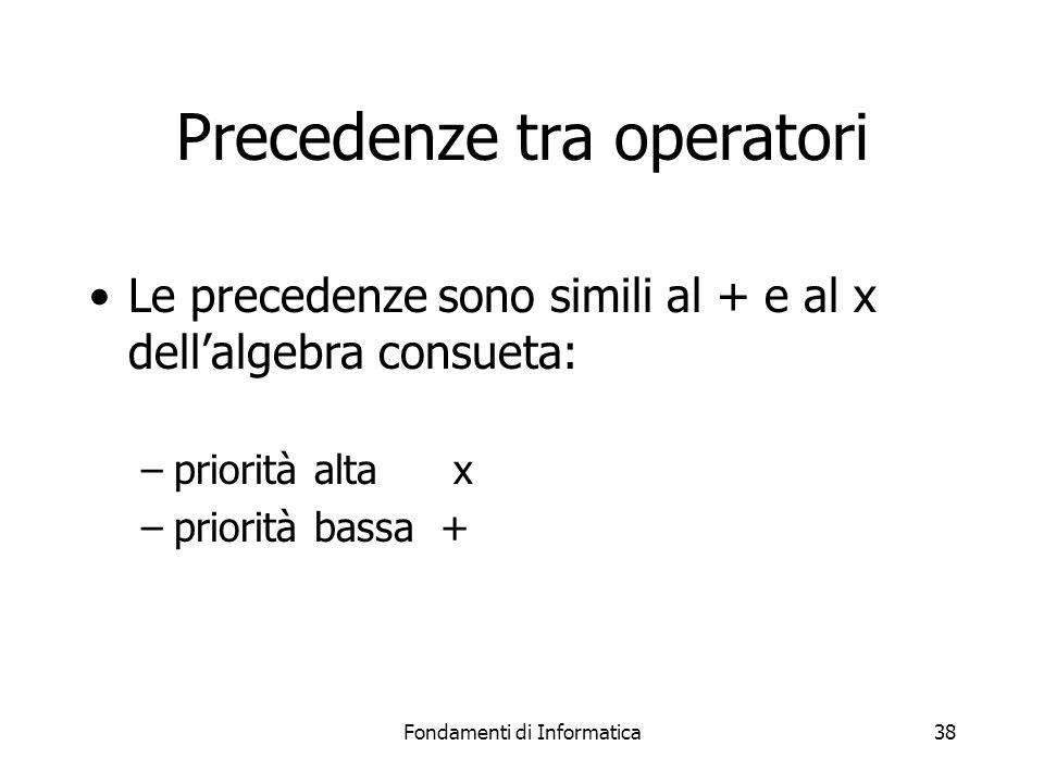Fondamenti di Informatica38 Precedenze tra operatori Le precedenze sono simili al + e al x dell'algebra consueta: –priorità alta x –priorità bassa +