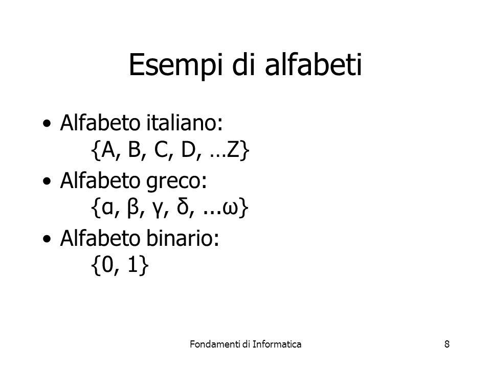 Fondamenti di Informatica8 Esempi di alfabeti Alfabeto italiano: {A, B, C, D, …Z} Alfabeto greco: {α, β, γ, δ,...ω} Alfabeto binario: {0, 1}