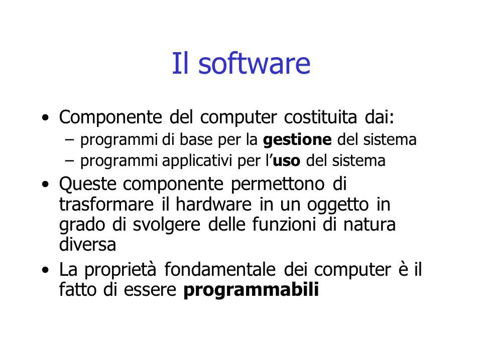 Il software Componente del computer costituita dai: –programmi di base per la gestione del sistema –programmi applicativi per l'uso del sistema Queste componente permettono di trasformare il hardware in un oggetto in grado di svolgere delle funzioni di natura diversa La proprietà fondamentale dei computer è il fatto di essere programmabili