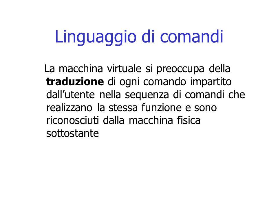 Linguaggio di comandi La macchina virtuale si preoccupa della traduzione di ogni comando impartito dall'utente nella sequenza di comandi che realizzano la stessa funzione e sono riconosciuti dalla macchina fisica sottostante