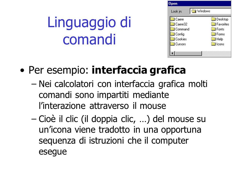 Linguaggio di comandi Per esempio: interfaccia grafica –Nei calcolatori con interfaccia grafica molti comandi sono impartiti mediante l'interazione attraverso il mouse –Cioè il clic (il doppia clic, …) del mouse su un'icona viene tradotto in una opportuna sequenza di istruzioni che il computer esegue