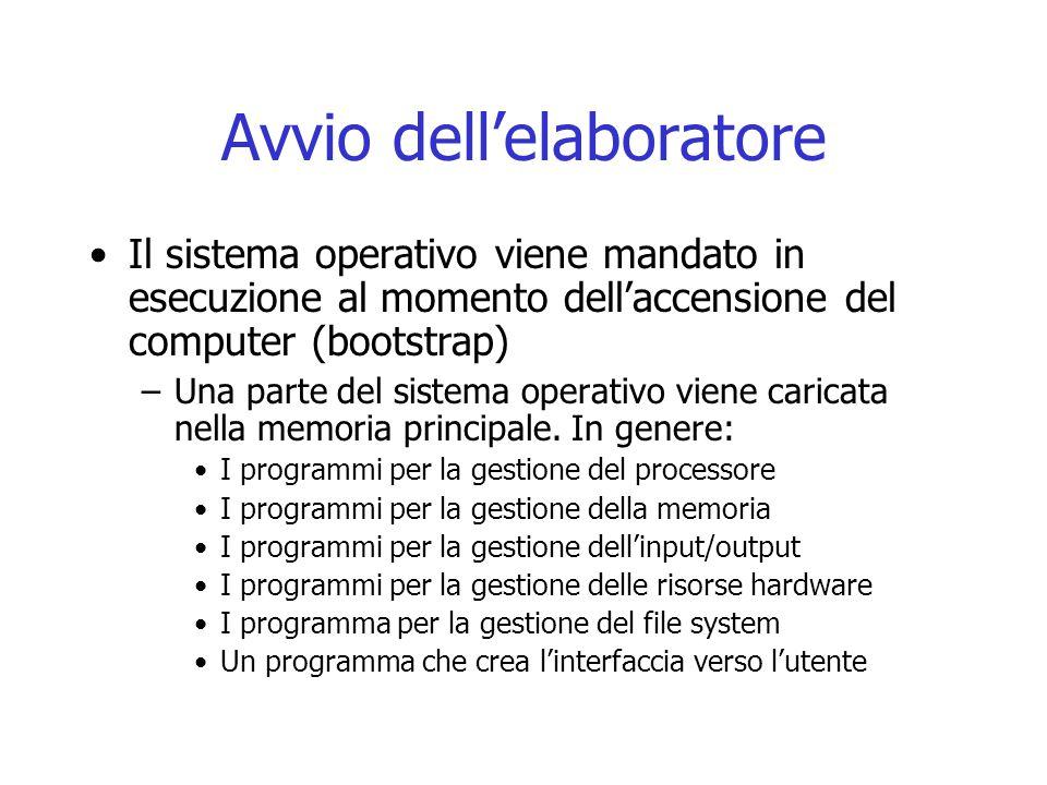 Avvio dell'elaboratore Il sistema operativo viene mandato in esecuzione al momento dell'accensione del computer (bootstrap) –Una parte del sistema operativo viene caricata nella memoria principale.