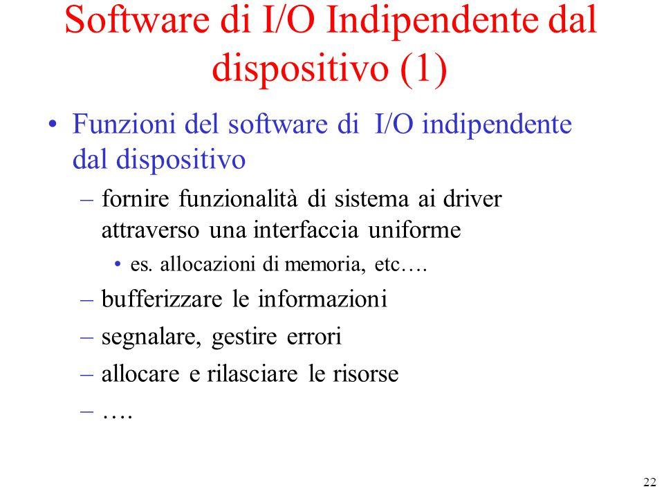 22 Software di I/O Indipendente dal dispositivo (1) Funzioni del software di I/O indipendente dal dispositivo –fornire funzionalità di sistema ai driver attraverso una interfaccia uniforme es.