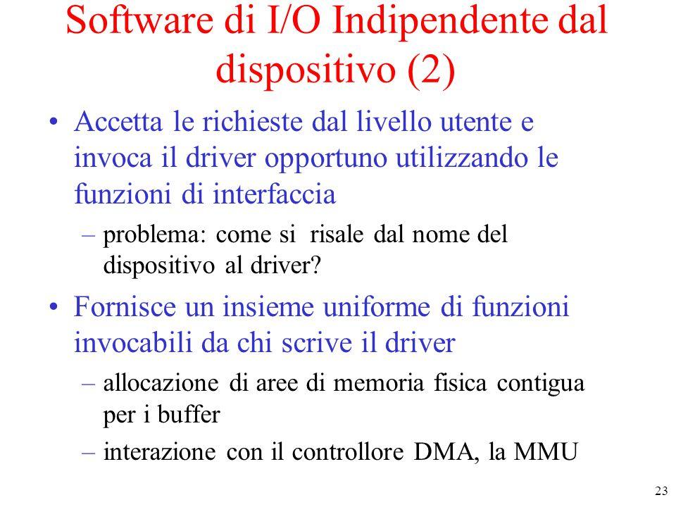 23 Software di I/O Indipendente dal dispositivo (2) Accetta le richieste dal livello utente e invoca il driver opportuno utilizzando le funzioni di interfaccia –problema: come si risale dal nome del dispositivo al driver.