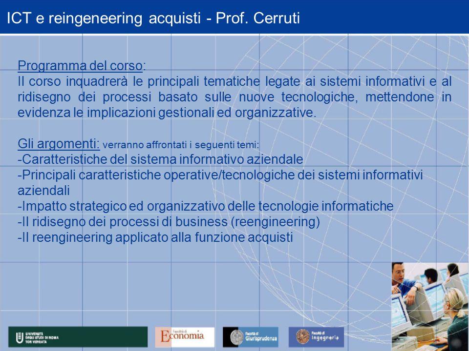 ICT e reingeneering acquisti - Prof.