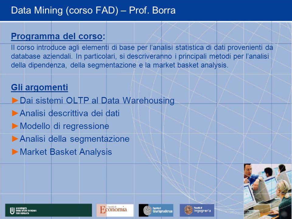 Data Mining (corso FAD) – Prof.