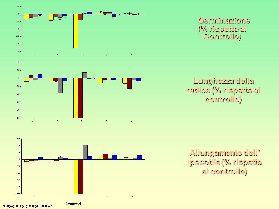 Germinazione (% rispetto al Controllo) Lunghezza della radice (% rispetto al controllo) Allungamento dell' ipocotile (% rispetto al controllo)