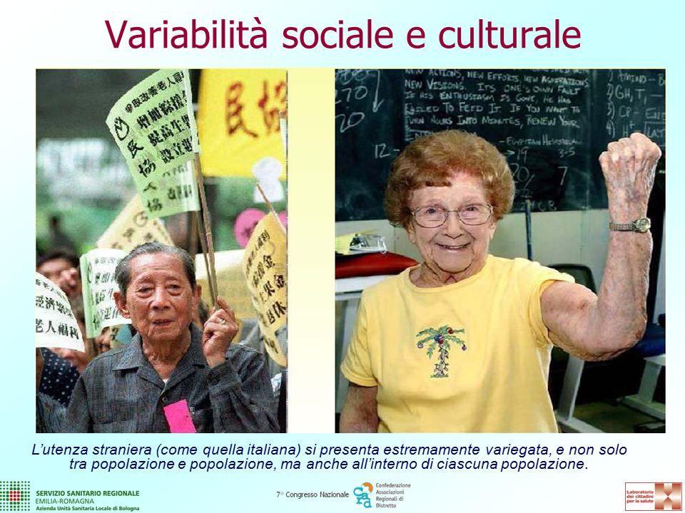 Variabilità sociale e culturale L'utenza straniera (come quella italiana) si presenta estremamente variegata, e non solo tra popolazione e popolazione, ma anche all'interno di ciascuna popolazione.
