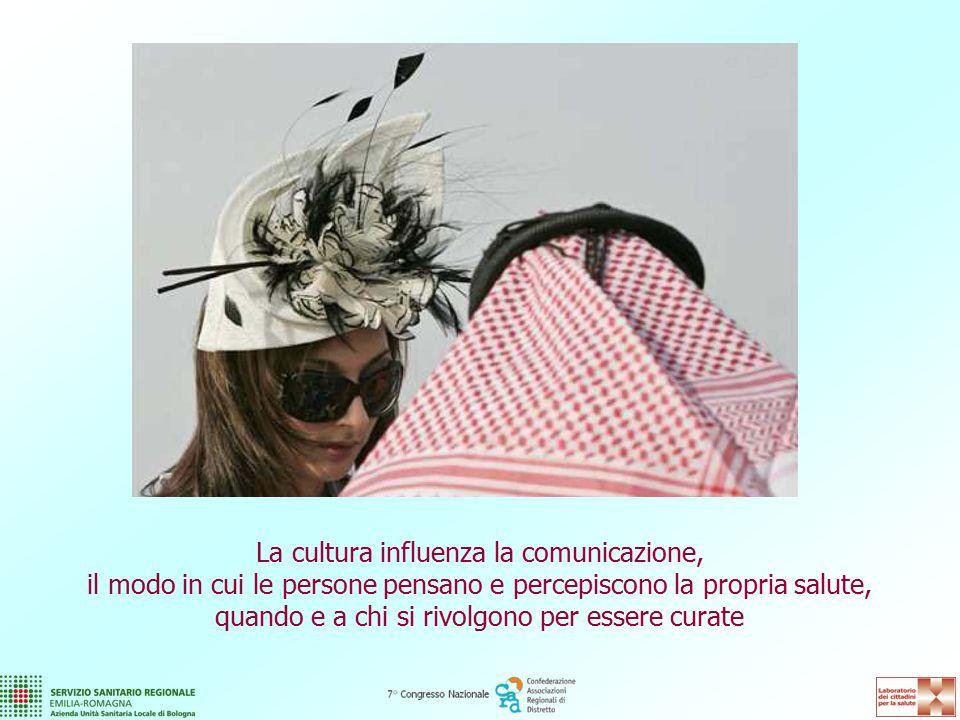 La cultura influenza la comunicazione, il modo in cui le persone pensano e percepiscono la propria salute, quando e a chi si rivolgono per essere curate