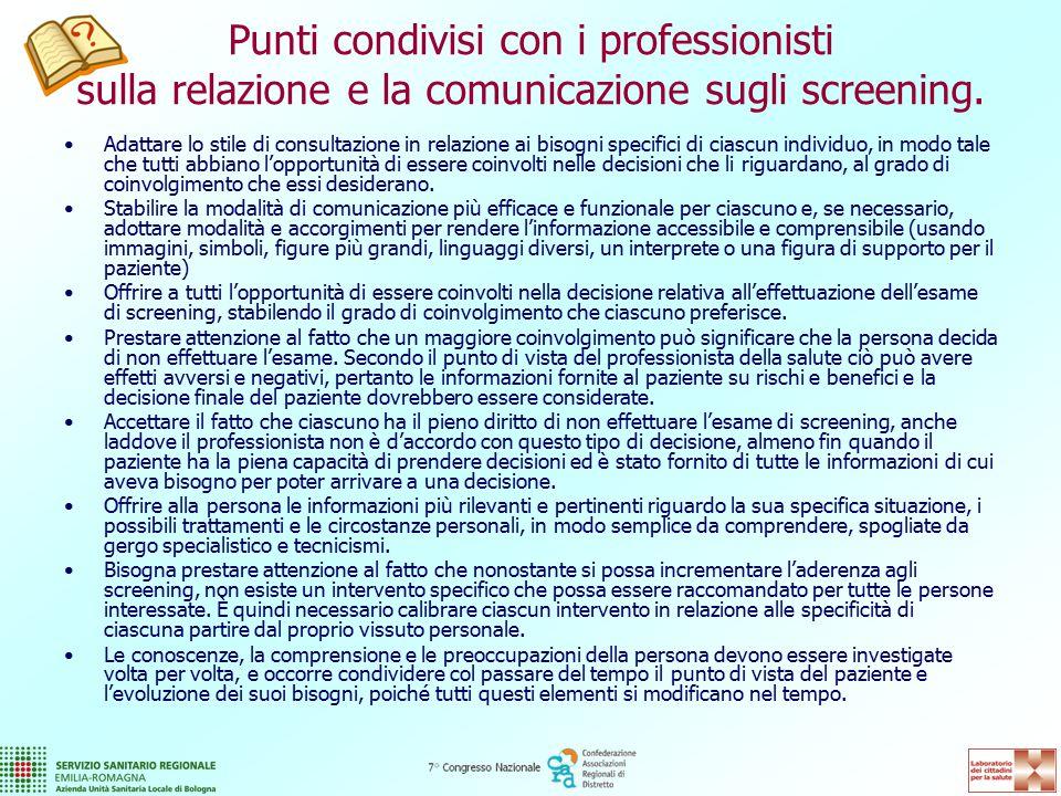 Punti condivisi con i professionisti sulla relazione e la comunicazione sugli screening.
