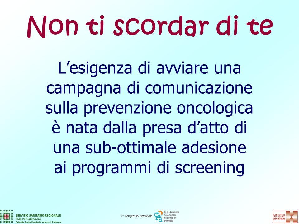 L'esigenza di avviare una campagna di comunicazione sulla prevenzione oncologica è nata dalla presa d'atto di una sub-ottimale adesione ai programmi di screening