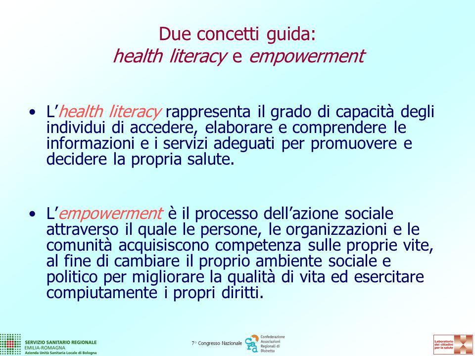 Due concetti guida: health literacy e empowerment L'health literacy rappresenta il grado di capacità degli individui di accedere, elaborare e comprendere le informazioni e i servizi adeguati per promuovere e decidere la propria salute.