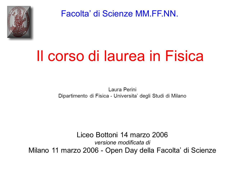 Liceo Bottoni 14 marzo 2006 versione modificata di Milano 11 marzo 2006 - Open Day della Facolta' di Scienze Il corso di laurea in Fisica Facolta' di