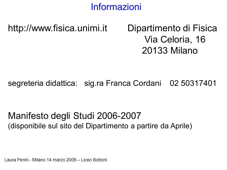 Laura Perini - Milano 14 marzo 2006 – Liceo Bottoni Informazioni http://www.fisica.unimi.it Dipartimento di Fisica Via Celoria, 16 20133 Milano segret