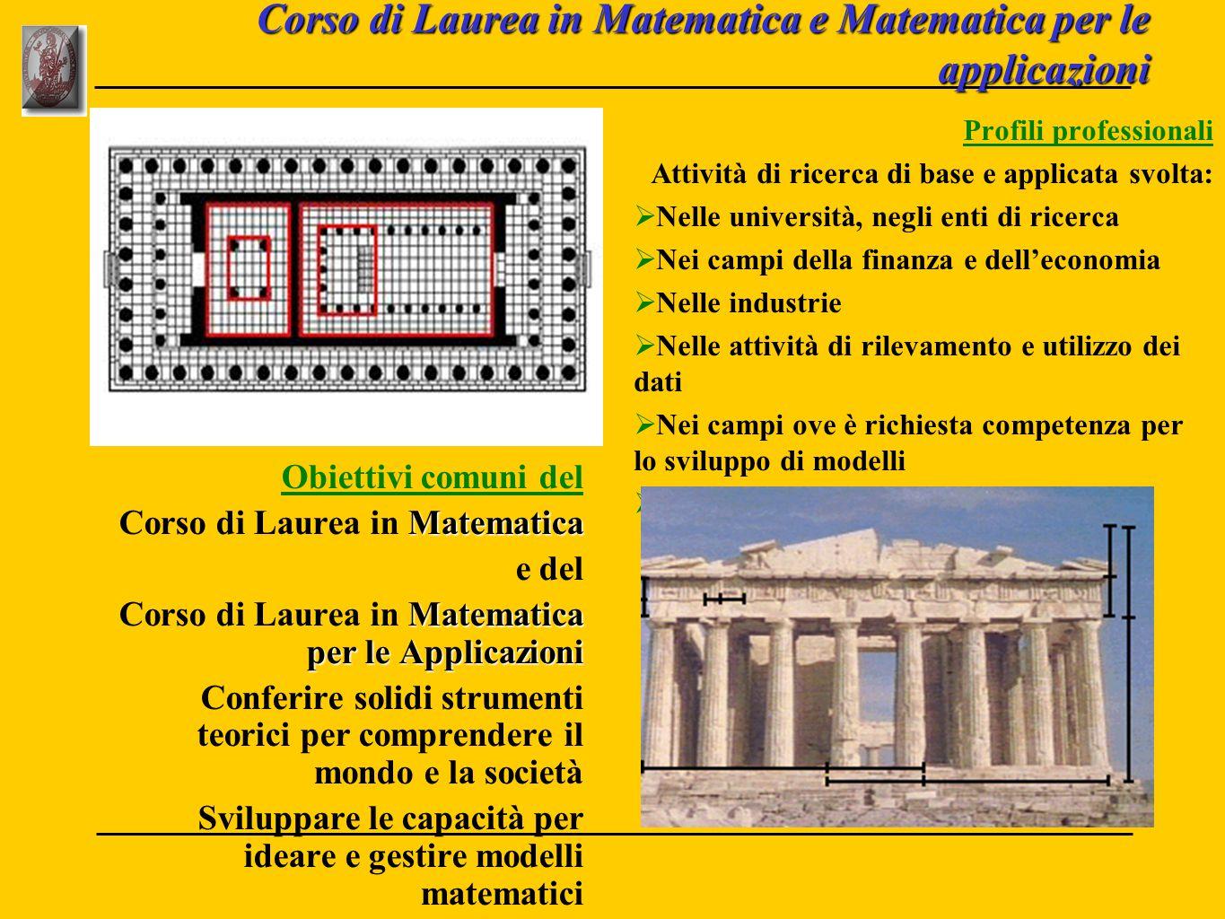 Corso di Laurea in Matematica e Matematica per le applicazioni Obiettivi comuni del Matematica Corso di Laurea in Matematica e del Matematica per le A