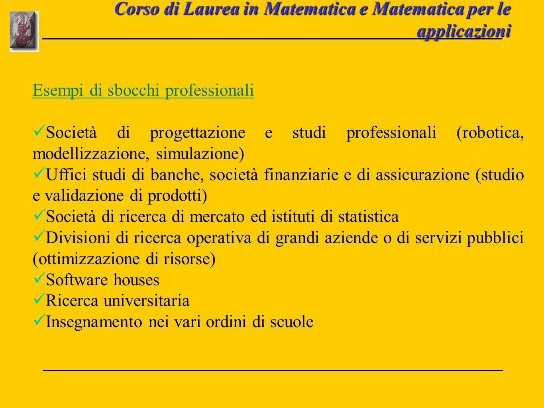 Corso di Laurea in Matematica e Matematica per le applicazioni Esempi di sbocchi professionali Società di progettazione e studi professionali (robotic
